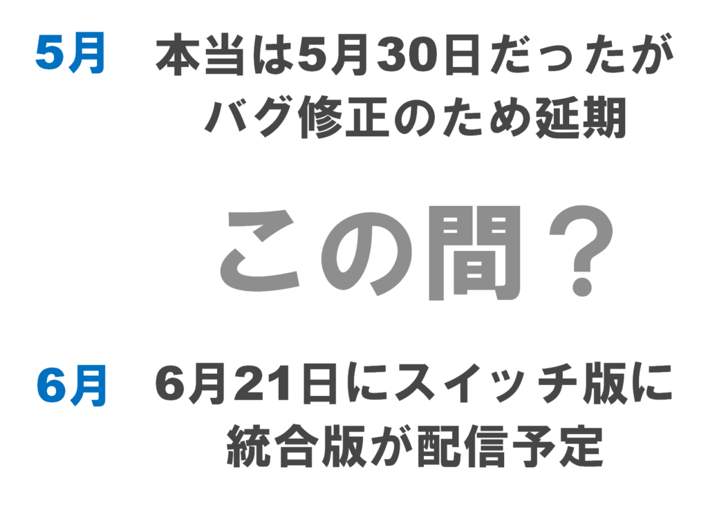 水のアップデートは5月30日に配信されるはずだったが、バグ修正のため延期。6月21日はスイッチ版に統合版が配信予定なので、6月下旬ごろに1.13が配信されると予想。